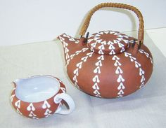Zeuthen Denmark red earthenware teapot and creamer 60s by AhHaaaa, $49.00