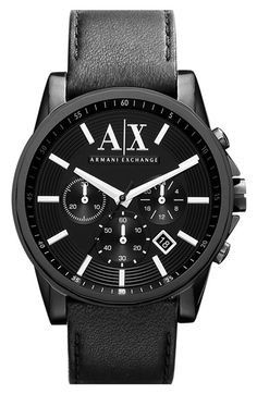 12fdfe031 AX Armani Exchange Chronograph Leather Strap Watch available at #Nordstrom  Burberry Herren, Mens Watch