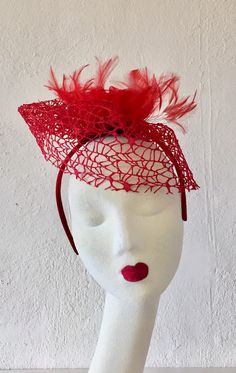 Your place to buy and sell all things handmade Red Fascinator, Feather Headpiece, Fascinators, Red Satin, Red Lace, Red Feather, Bird Cage, Headgear, Vintage Lace