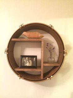 Wood Upcycled Refinished Round Bass Drum Shelf by ForteRefurnish