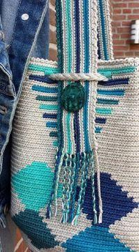Beach and ocean INCLUSIEF portemonneetje – Knitting patterns, knitting designs, knitting for beginners. Mochila Crochet, Bag Crochet, Crochet Diy, Crochet Handbags, Tunisian Crochet, Crochet Purses, Love Crochet, Crochet Crafts, Crochet Stitches
