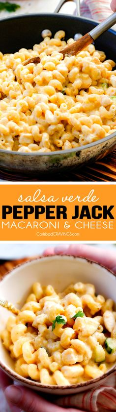 This 30 min. mega creamy (lightened up) Salsa Verde Pepper Jack Macaroni and Cheese is crazy flavorful infused with salsa verde, pepper jack and sharp cheddar and super easy to make! A new family favorite with the option of chicken and veggies! via @carlsbadcraving
