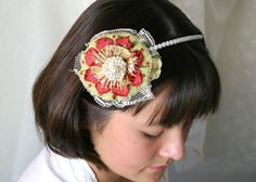 Fabric Flower Necklace Textile Statement by rosyposydesigns