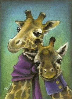 Hipster giraffes - 5x7 print by Tanya Bond. Starting at $9 on Tophatter.com!