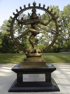 Shiva Nataraja statue unveiled on 18 june,2004 at Cern,Switzerland.The two meter tall dancing Shiva the 'Lord of Dance' was given to Cern by the Indian government, the hindu deity symbolizing Shiva's cosmic dance of creation and destruction,which is on permanent display outside the main building of Cern.