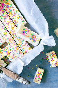4-Ingredient Funfetti Fudge. This simple, no-bake, quick fudge recipe is so easy a kid could make it! You only need four ingredients: sweetened condensed milk, white chocolate chips, white cake mix, and sprinkles.