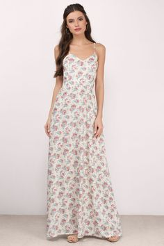 "Search ""In My Secret Garden Cream Floral Floral Maxi Dress"" on Tobi.com! flower print cami spaghetti strap modest easter maxi floor length long gown Basic outfit simple easy chic fashionable stylish style fashion vacation travel essential capsule wardrobe must have casual comfy comfortable trendy spring summer shop buy cheap inexpensive ideas for women teens cute edgy closet fall college outfit outfits"