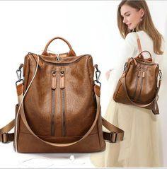 a21c7efbbc6d 2018 NEW women Simple earphone hole Backpack female PU Leather Backpacks  For Teenage Girls School Bags Vintage Shoulder Bag