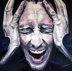 In dit kunstwerk zie je een geschilderde man dit boos is en argwaan uit straalt. Dit kan je zien  doordat hij zijn handen in zijn haar heeft en schreeuwt. Ook kan je dit zien door de donkere kleuren die zijn gebruikt.