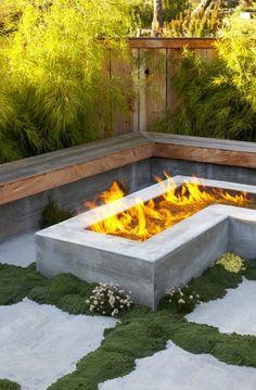 modern concrete fire pit- read later