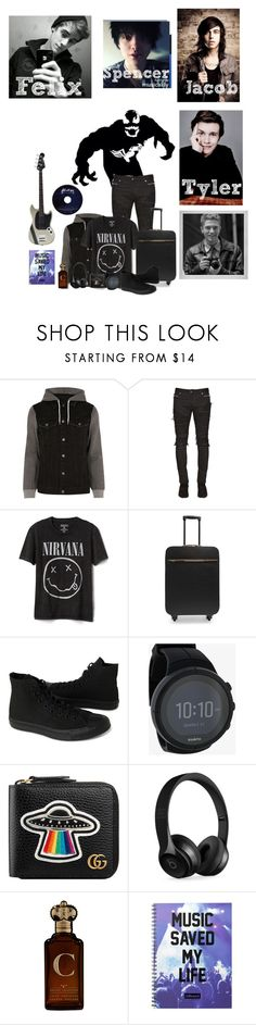 """Felix ( room mates )"" by karabear3256 ❤ liked on Polyvore featuring Venom, River Island, Balmain, Gap, STELLA McCARTNEY, Converse, Suunto, Gucci, Beats by Dr. Dre and Clive Christian"