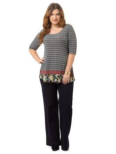 83394b663360f Plus Size LUCIE LU Thea Tunic In Floral Border Print Black Bootcut Jeans