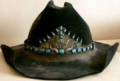 black cowboy hat with turquoise // southwestern // boho