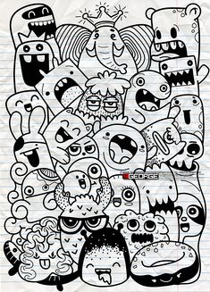 Vector illustration of Doodle cute Monster background ,Hand drawing Doodle Cute Doodles Drawings, Cute Monsters Drawings, Cute Doodle Art, Funny Doodles, Doodle Art Designs, Doodle Art Drawing, Kawaii Doodles, Cool Art Drawings, Easy Drawings