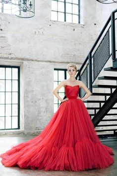 48d23ff90e New Custom Made Red Tulle Sweetheart Ruffles Layers Sweep Train Ball Gown  Formal Long Prom Dresses For Wedding Party