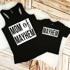 MOM OF MAYHEM! Mommy and me shirts for the wild one in your life. This Racerback Tank is amazing- TURN SOME HEADS! Very soft and super…