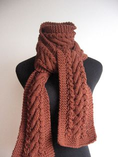 Hand Knit Scarf Rustic Heather Reddish Brown Cable and Lace Scarf  Cable Knit Scarf