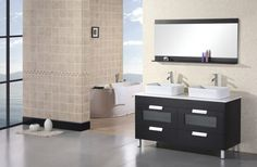 clean gray ceramic floor tile paired with black freestanding bathroom vanity set plus double square white sinks designed under rectangular wall mirror | Stunning Bathroom Mirrors | https://www.designoursign.com #bathroom  #luxurybathroom #luxurybathroomideas #luxuryfurniture #interiordesign #luxurydesign #homedecor #designdetails
