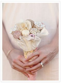 20 Ideas for Alternative Wedding Bouquets: This ethereal bouquet was made from vintage door and drawer knobs. Learn how to DIY one for yourself.