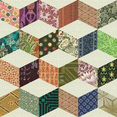 Vintage+Quilt+Patterns   SHIFTING CUBES (Necker's Cube) - Antique Geometric Quilt Designs