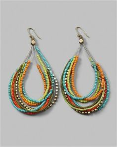 Multi strand beaded ear rings        multi-strand earrings
