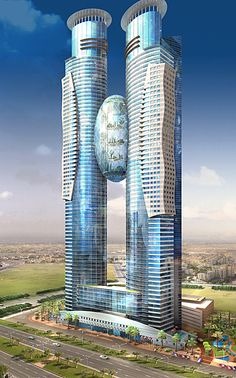 K & A Dubai Tower-Ei, - Bildungsarchitektur Architecture Antique, Futuristic Architecture, Beautiful Architecture, Art And Architecture, Chinese Architecture, Unusual Buildings, Amazing Buildings, Modern Buildings, Office Buildings