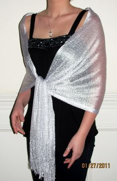 Silver White Netted Evening Shawl Wrap Bliss $24.99 bridal & bridesmaids shawl a beautiful ladies evening wrap shiny dressy affordable on sale.
