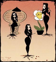 Morticia Addams by Hugo Tendaz Gomez And Morticia, Morticia Addams Makeup, Dibujos Pin Up, Character Art, Character Design, Drawn Art, Illustration Art, Illustrations, Adams Family