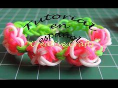 Como hacer una pulsera de gomitas Jardin de Rosas. Rainbow Loom Rose Garden. - YouTube