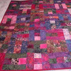 Handmade Batik Quilt in Fuchsia Violet Pink Patchwork | GracefulArts - Quilts on ArtFire