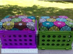 A Sunny Day in First Grade: Crate Seat Tutorial Classroom Setting, Classroom Setup, Classroom Organization, Organizing, Future Classroom, Classroom Management, Organization Ideas, Storage Ideas, Crate Bench