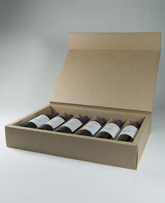 Caja de 6 botellas de vino realizada en micro canal