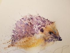 Seven steps to painting a hedgehog – watercolours by rachel Watercolor Paintings Of Animals, Watercolor Painting Techniques, Watercolour Tutorials, Watercolor Bird, Watercolour Tips, Hedgehog Drawing, Hedgehog Art, Step By Step Watercolor, Easy Drawings