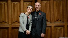 """The next Archbishop of Canterbury set out his support for the ordination of women bishops as his appointment was officially confirmed. Seen here with his wife, Caroline, he said his appointment as the 105th Archbishop of Canterbury was """"astonishing and exciting""""."""