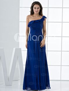 Royal Blue Chiffon One Shoulder A-line Bridesmaid Dress - Milanoo.com ...  Look at the teal blue strapless dress with flowers on side.