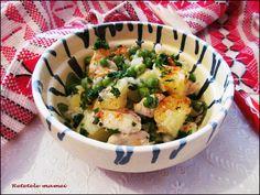 Cartofi cu carne de pui și mazăre Potato Salad, Potatoes, Ethnic Recipes, Food, Potato, Essen, Meals, Yemek, Eten