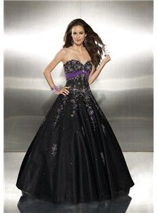 Purple and Black Wedding Dresses | purple black a line tulle prom ...