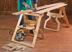Fold-Flat Sawhorses   Woodsmith Plans