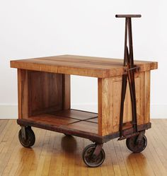 Salvage Bar Trolley Vintage Crane Trolley with Western Maple Butcher Block Top