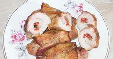 Retete aperitive calde si reci, Reteta rulouri de porc umplute cu cascaval si ardei kapia. Retete culinare. Retete cu porc. Preparate din porc. Pork Roll, Rolls Recipe, Carne, French Toast, Meat, Chicken, Breakfast, Recipes, Pork