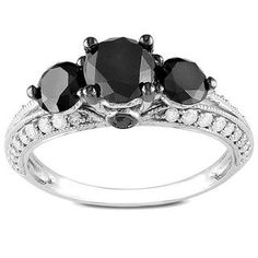Miadora 10k Gold 2ct TDW Round Cut Three Stone Black Diamond Ring (G-H, I2-I3),,,is this the one??