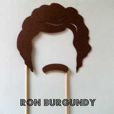 Felt photo booth prop: Ron Burgundy mask. (Stay classy, party goers.)