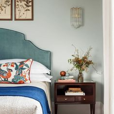 home decor blue Upholstered Teal Headboard + Cobalt Blue Blanket Throw + Cobalt Blue accents + Classic Blue Pantone Color Of the Year 2020 + Nightstand Styling + Bedroom Decor Blue Bedroom, Home Decor Bedroom, Design Bedroom, Bedroom Ideas, Modern Bedroom, Bedroom Furniture, Bedroom Signs, Pretty Bedroom, Diy Bedroom