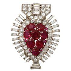 Art Deco Superb Quality Burma Ruby Diamond Clip Pin. May be worn as a pendant. 1935