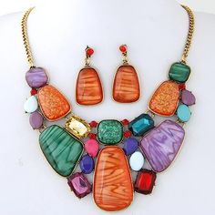 [commodity material]: alloy Czech drill Resin Necklace, Boho Necklace, Gemstone Necklace, Fashion Necklace, Necklace Set, Women's Earrings, Jewelry Necklaces, Fashion Jewelry, Cheap Earrings