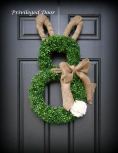 Easter Wreath.  Easter Bunny Wreath.  Boxwood Bunny Wreath.  Boxwood and Burlap Bunny Wreath with Geranium Tail.  Southern Chic. by PrivilegedDoor on Etsy https://www.etsy.com/listing/218269643/easter-wreath-easter-bunny-wreath