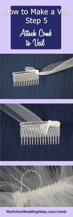 Step 5 in how to make a veil with comb tutorial, how to attach a comb to the veil.