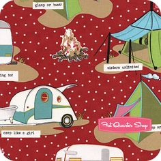 Glamping Barn Red Tents and Trailers Yardage