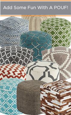 Add pops of color to every room in your home with a pouf! Easy decor that add big design elements.