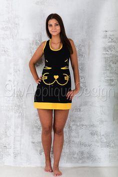 cd57aaf10b Items similar to Cat dress/ FREE SHIPPING /Kitten dress/Black dress/Loose  dress/Cute dress/Tunic dress/Mini dress/Animal dress/Handmade dress on Etsy